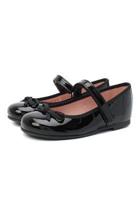Детские кожаные балетки PRETTY BALLERINAS черного цвета, арт. 49.126-R/SHADE/SHADE/C0T0N | Фото 1