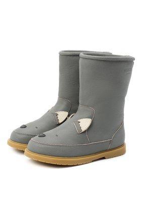 Детские кожаные сапоги DONSJE AMSTERDAM серого цвета, арт. 1004-ST056-CL024 | Фото 1