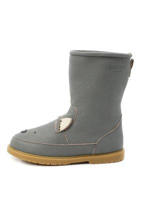 Детские кожаные сапоги DONSJE AMSTERDAM серого цвета, арт. 1004-ST056-CL024 | Фото 2