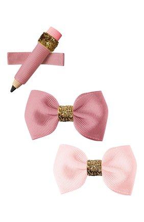 Детская комплект из трех заколок MILLEDEUX розового цвета, арт. SCG03 | Фото 1
