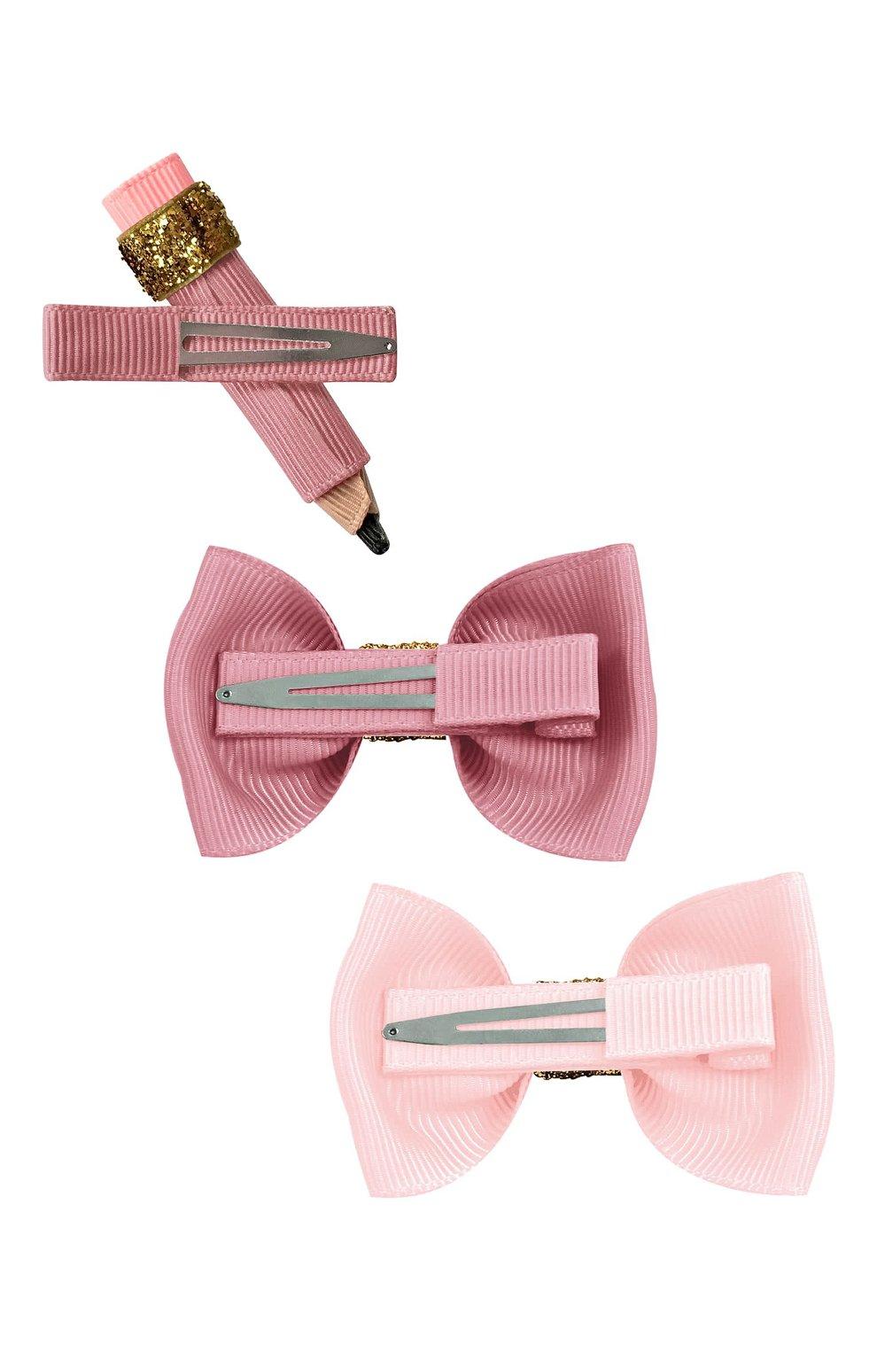 Детская комплект из трех заколок MILLEDEUX розового цвета, арт. SCG03 | Фото 2