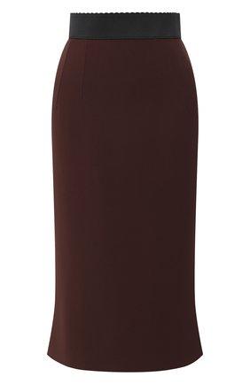 Женская юбка-миди DOLCE & GABBANA коричневого цвета, арт. F4A1FT/FURDV | Фото 1