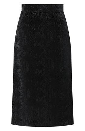 Женская юбка из вискозы и шелка SAINT LAURENT черного цвета, арт. 630863/Y744N   Фото 1