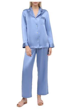 Женская шелковая пижама LUNA DI SETA голубого цвета, арт. VLST08007 | Фото 1