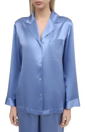 Женская шелковая пижама LUNA DI SETA голубого цвета, арт. VLST08007 | Фото 2
