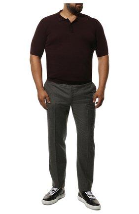 Мужские брюки из шерсти и кашемира LORO PIANA серого цвета, арт. FAI3433 | Фото 2 (Длина (брюки, джинсы): Стандартные; Материал внешний: Шерсть; Случай: Формальный; Стили: Классический; Материал подклада: Синтетический материал)