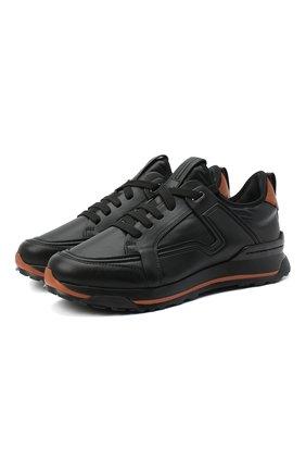 Мужские кожаные кроссовки ERMENEGILDO ZEGNA черного цвета, арт. A4402X-LHSRE | Фото 1