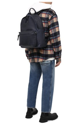 Мужской кожаный рюкзак OFFICINE CREATIVE темно-синего цвета, арт. 0C PACK/R0ME   Фото 2