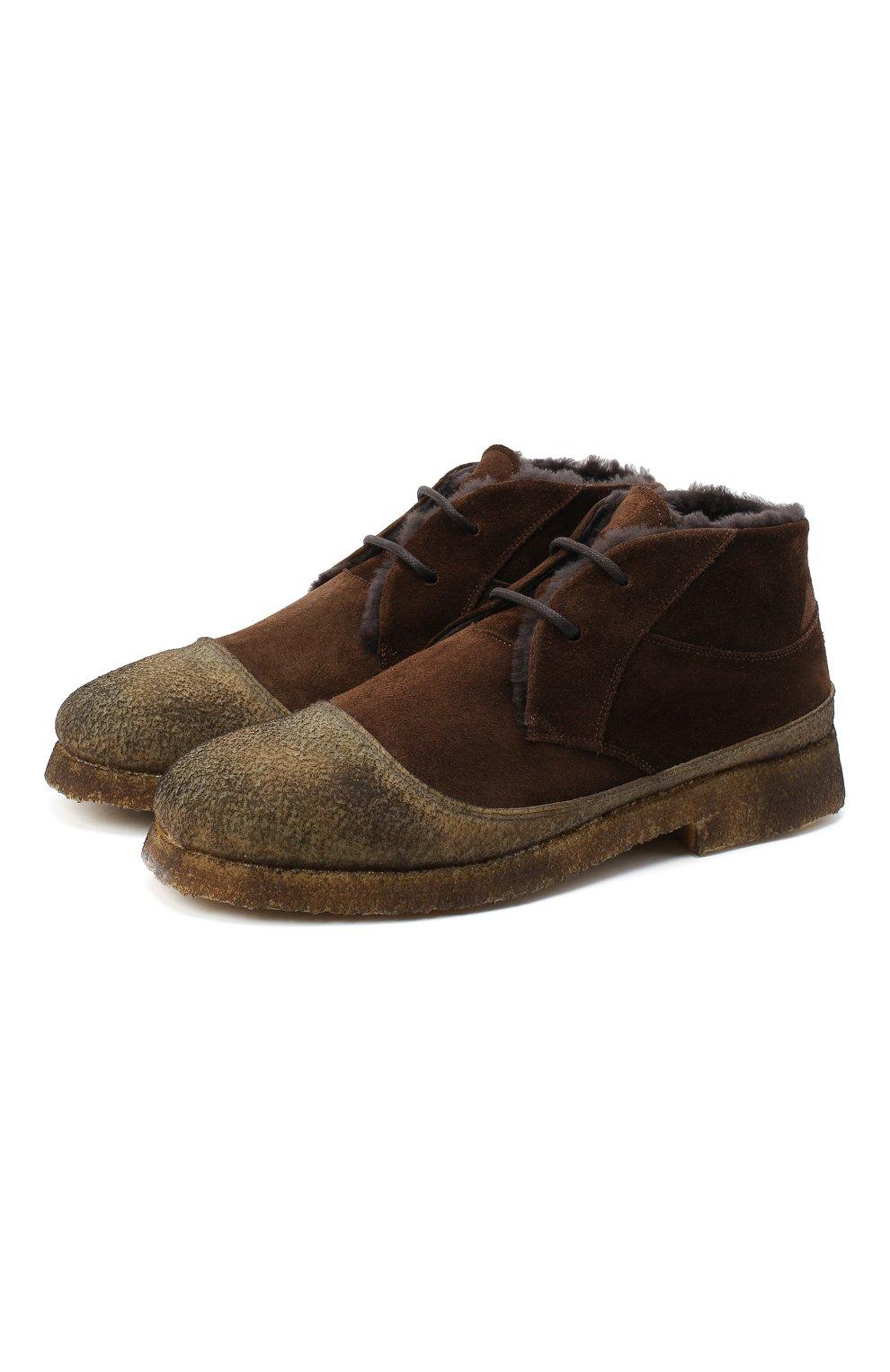 Мужские комбинированные ботинки ROCCO P. темно-коричневого цвета, арт. 9300/SENS0RY | Фото 1