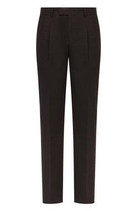 Мужской шерстяные брюки GIORGIO ARMANI темно-коричневого цвета, арт. 0SGPP0BF/T01Y5 | Фото 1