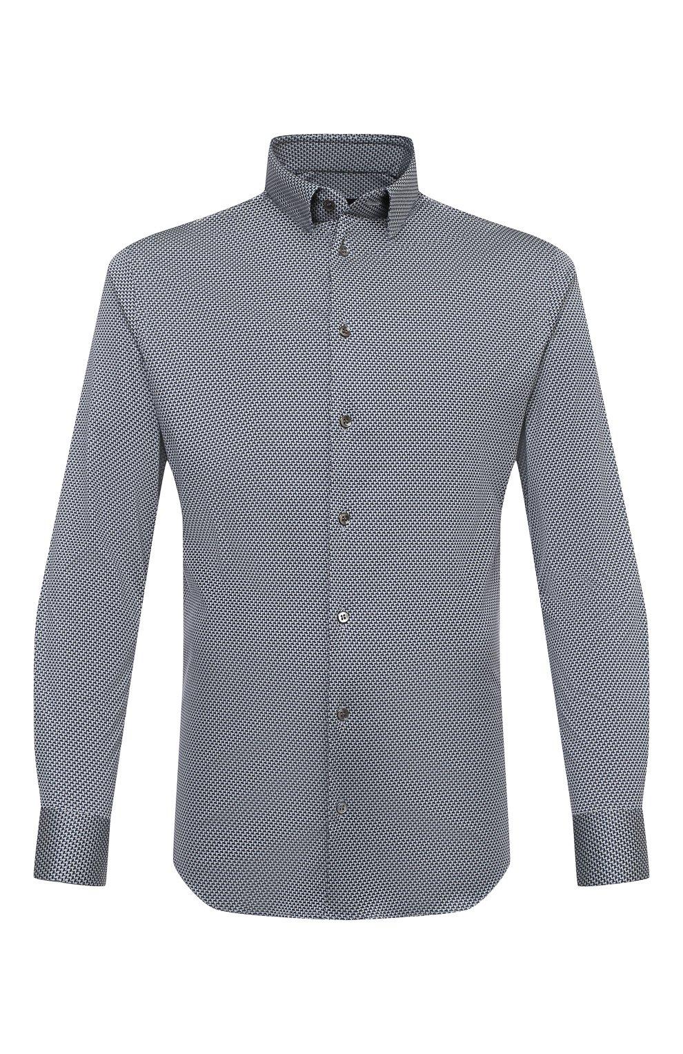 Мужская хлопковая рубашка GIORGIO ARMANI темно-синего цвета, арт. 8WGCCZ97/JZ699   Фото 1