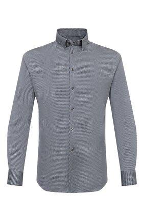 Мужская хлопковая рубашка GIORGIO ARMANI темно-синего цвета, арт. 8WGCCZ97/JZ699 | Фото 1