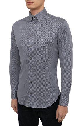 Мужская хлопковая рубашка GIORGIO ARMANI темно-синего цвета, арт. 8WGCCZ97/JZ699   Фото 3