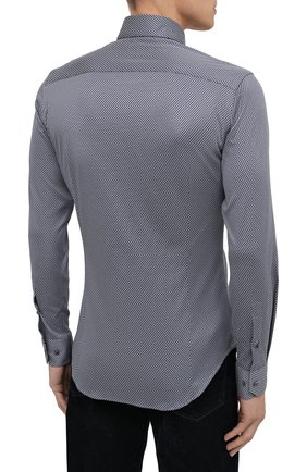 Мужская хлопковая рубашка GIORGIO ARMANI темно-синего цвета, арт. 8WGCCZ97/JZ699   Фото 4