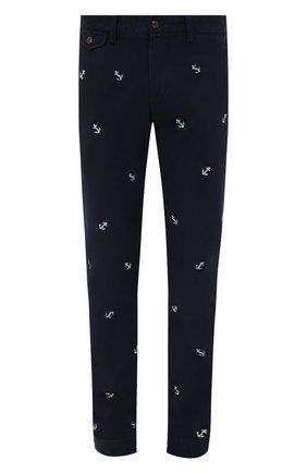 Мужской хлопковые брюки POLO RALPH LAUREN темно-синего цвета, арт. 710803620 | Фото 1