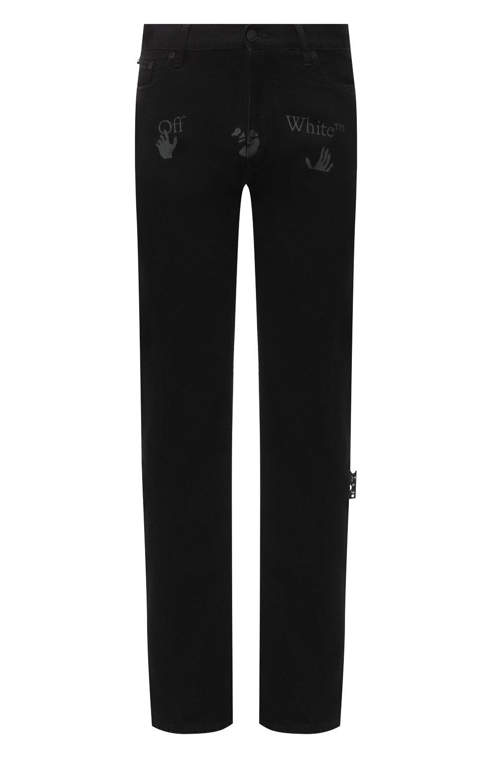 Мужские джинсы OFF-WHITE черного цвета, арт. 0MYA078E20DEN0031001 | Фото 1 (Силуэт М (брюки): Широкие; Кросс-КТ: Деним; Длина (брюки, джинсы): Стандартные; Стили: Гранж; Материал внешний: Хлопок)
