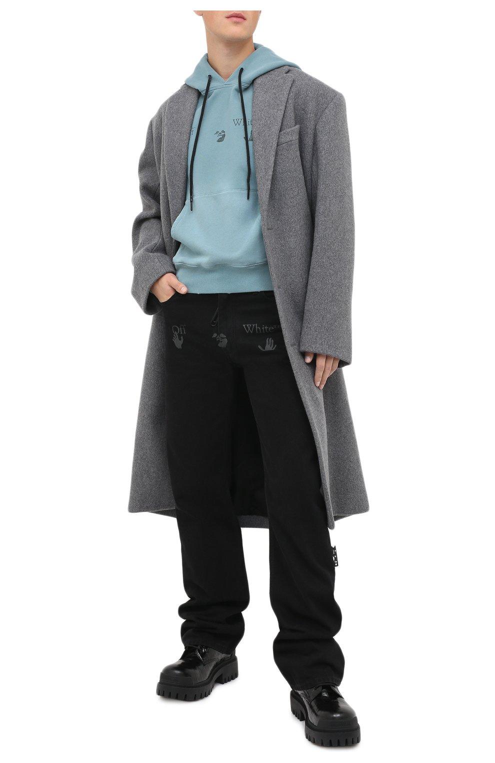Мужские джинсы OFF-WHITE черного цвета, арт. 0MYA078E20DEN0031001 | Фото 3 (Силуэт М (брюки): Широкие; Кросс-КТ: Деним; Длина (брюки, джинсы): Стандартные; Стили: Гранж; Материал внешний: Хлопок)