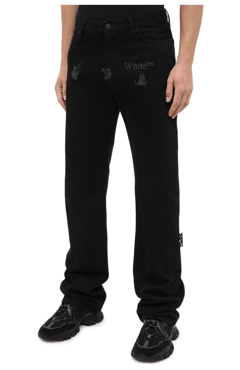 Мужские джинсы OFF-WHITE черного цвета, арт. 0MYA078E20DEN0031001 | Фото 4 (Силуэт М (брюки): Широкие; Кросс-КТ: Деним; Длина (брюки, джинсы): Стандартные; Стили: Гранж; Материал внешний: Хлопок)