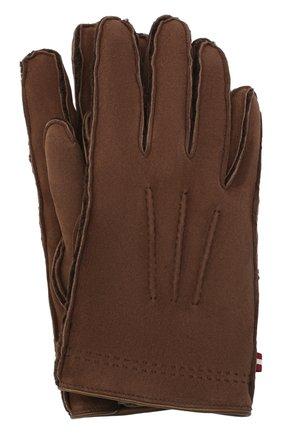 Мужские замшевые перчатки BALLY коричневого цвета, арт. M9P0031L-4S034/577 | Фото 1
