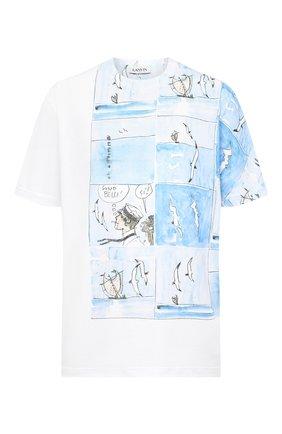 Мужская хлопковая футболка LANVIN белого цвета, арт. RM-JE0046-JR15-H20   Фото 1