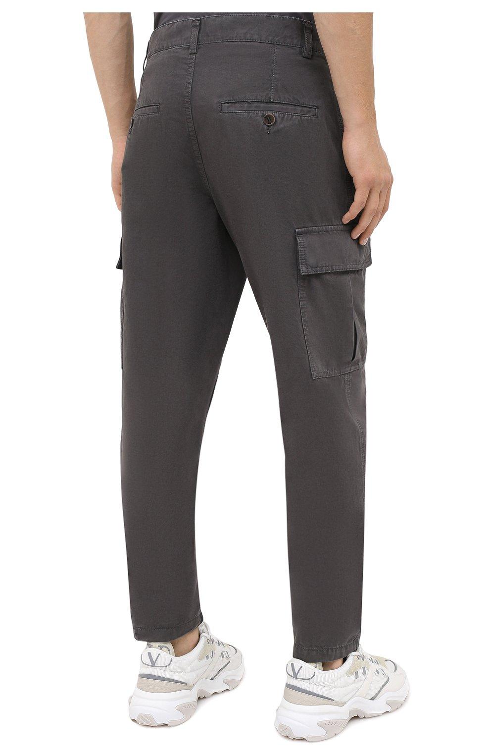 Мужские хлопковые брюки-карго ASPESI серого цвета, арт. W0 A CP31 A263   Фото 4 (Силуэт М (брюки): Карго; Длина (брюки, джинсы): Стандартные; Случай: Повседневный; Материал внешний: Хлопок; Стили: Кэжуэл)