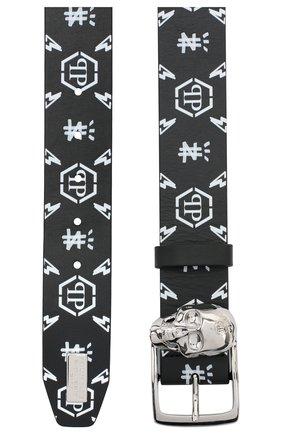 Мужской кожаный ремень PHILIPP PLEIN черно-белого цвета, арт. F20A MVA0595 PLE096N | Фото 2