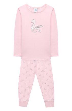 Детская хлопковая пижама SANETTA светло-розового цвета, арт. 232488 | Фото 1