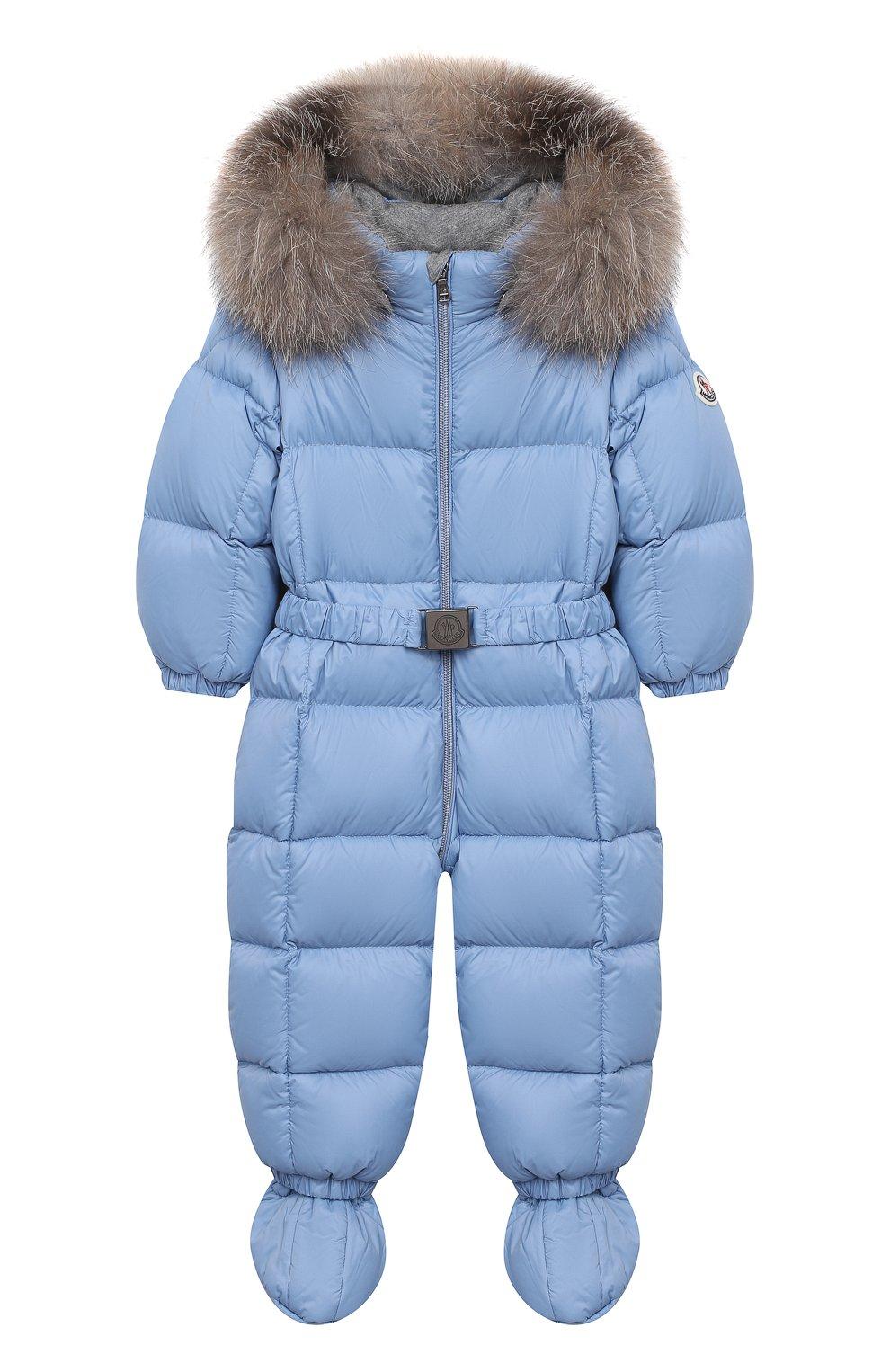Детского пуховый комбинезон с пинетками MONCLER голубого цвета, арт. F2-951-1G506-02-53079/3M-18M   Фото 1