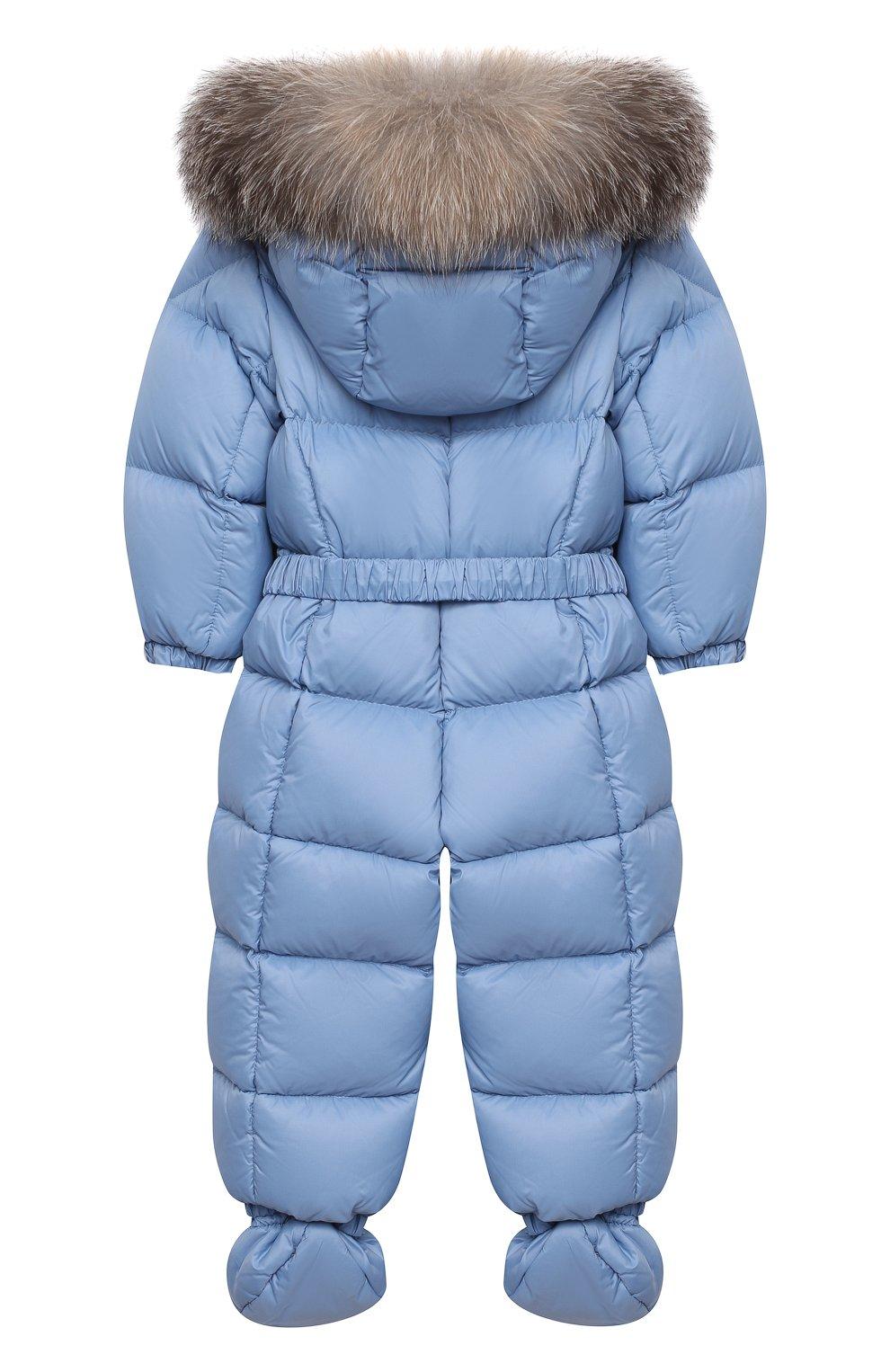 Детского пуховый комбинезон с пинетками MONCLER голубого цвета, арт. F2-951-1G506-02-53079/3M-18M   Фото 2