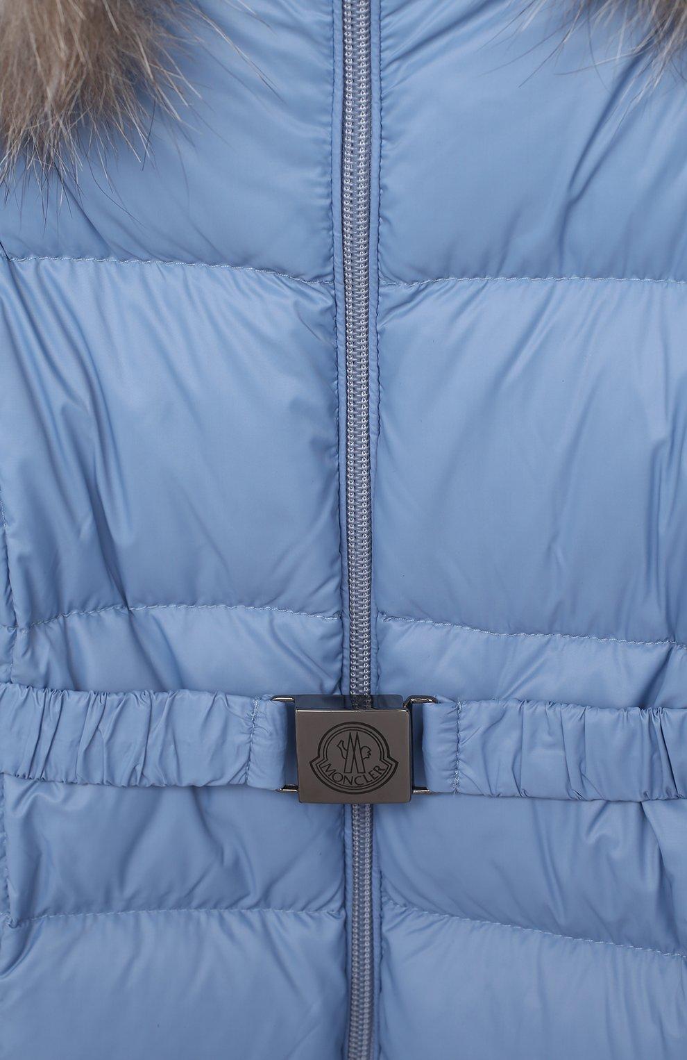 Детского пуховый комбинезон с пинетками MONCLER голубого цвета, арт. F2-951-1G506-02-53079/3M-18M   Фото 3