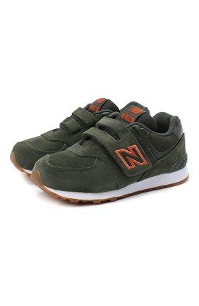 Детские кроссовки 574 NEW BALANCE темно-зеленого цвета, арт. IV574PGO/M | Фото 1 (Стили: Гранж)