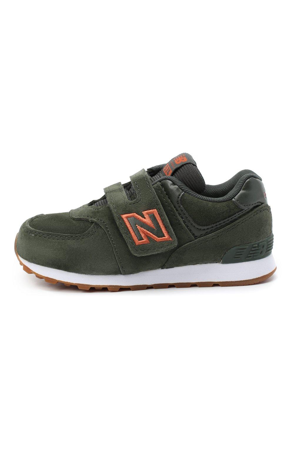 Детские кроссовки 574 NEW BALANCE темно-зеленого цвета, арт. IV574PGO/M | Фото 2 (Стили: Гранж)