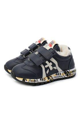 Детские кожаные кроссовки PREMIATA WILL BE синего цвета, арт. LUCY V-M/11-21310-M/CHILD | Фото 1 (Кросс-КТ: велькро)