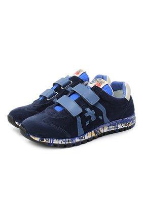 Детские замшевые кроссовки PREMIATA WILL BE синего цвета, арт. LUCY V/11-21442/T0D | Фото 1 (Материал внутренний: Натуральная кожа; Материал утеплителя: Натуральный мех; Кросс-КТ: велькро; Стили: Гранж)