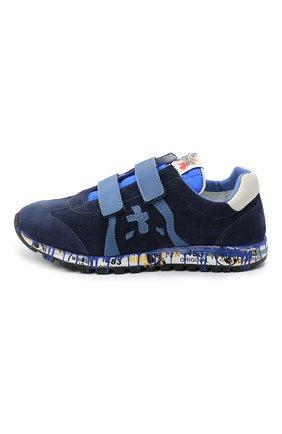 Детские замшевые кроссовки PREMIATA WILL BE синего цвета, арт. LUCY V/11-21442/T0D | Фото 2 (Материал внутренний: Натуральная кожа; Материал утеплителя: Натуральный мех; Кросс-КТ: велькро; Стили: Гранж)