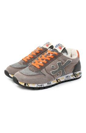 Детские замшевые кроссовки PREMIATA WILL BE коричневого цвета, арт. MICK-M/11-41451-M/JUN | Фото 1 (Материал внутренний: Натуральная кожа)