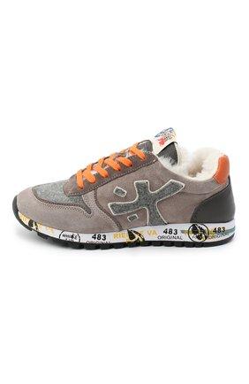 Детские замшевые кроссовки PREMIATA WILL BE коричневого цвета, арт. MICK-M/11-41451-M/JUN | Фото 2 (Материал внутренний: Натуральная кожа)