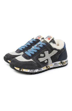 Детские замшевые кроссовки PREMIATA WILL BE серого цвета, арт. MICK-M/11-41452-M/JUN | Фото 1 (Материал внутренний: Натуральная кожа)
