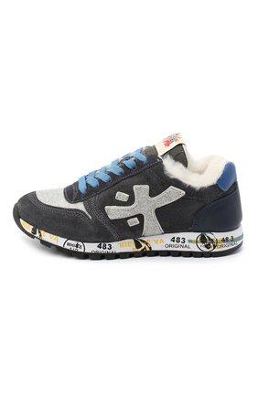 Детские замшевые кроссовки PREMIATA WILL BE серого цвета, арт. MICK-M/11-41452-M/JUN | Фото 2 (Материал внутренний: Натуральная кожа)