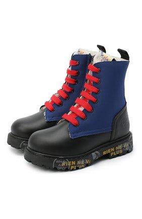 Детские кожаные ботинки PREMIATA WILL BE черного цвета, арт. HI-URBAN-M/11-191461-M/JUN | Фото 1 (Материал внешний: Кожа; Материал утеплителя: Натуральный мех)