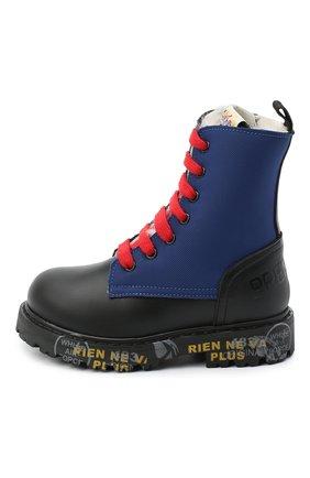Детские кожаные ботинки PREMIATA WILL BE черного цвета, арт. HI-URBAN-M/11-191461-M/JUN | Фото 2 (Материал внешний: Кожа; Материал утеплителя: Натуральный мех)