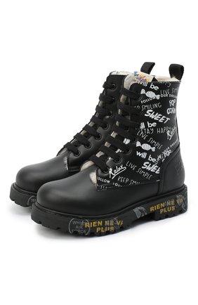 Детские кожаные ботинки PREMIATA WILL BE черно-белого цвета, арт. HI-URBAN-M/11-191462-M/T0D   Фото 1 (Материал внешний: Кожа; Материал утеплителя: Натуральный мех)