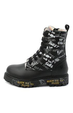 Детские кожаные ботинки PREMIATA WILL BE черно-белого цвета, арт. HI-URBAN-M/11-191462-M/T0D   Фото 2 (Материал внешний: Кожа; Материал утеплителя: Натуральный мех)