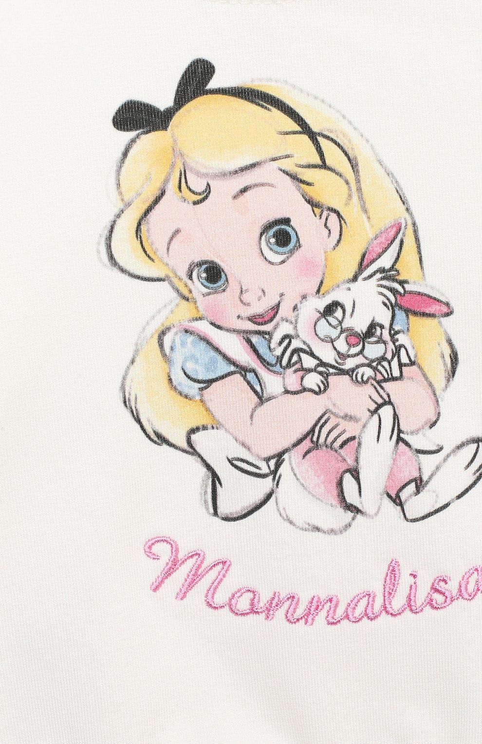 Детский лонгслив MONNALISA белого цвета, арт. 396625PI | Фото 3