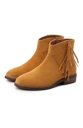 Детские замшевые ботинки BEBERLIS коричневого цвета, арт. 21517/28-30   Фото 1 (Материал внутренний: Натуральная кожа)