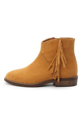 Детские замшевые ботинки BEBERLIS коричневого цвета, арт. 21517/28-30   Фото 2 (Материал внутренний: Натуральная кожа)