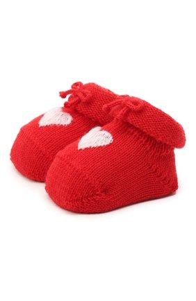 Детские шерстяные пинетки CATYA красного цвета, арт. 024541 | Фото 1