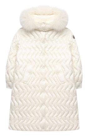 Детское пуховое пальто MONCLER белого цвета, арт. F2-954-1C201-12-53048/8-10A | Фото 1