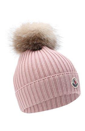 Детского шерстяная шапка с меховым помпоном MONCLER розового цвета, арт. F2-954-3B711-10-04S01 | Фото 1