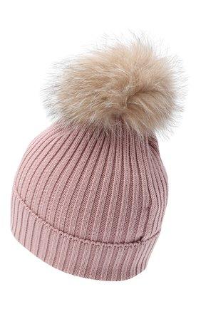 Детского шерстяная шапка с меховым помпоном MONCLER розового цвета, арт. F2-954-3B711-10-04S01 | Фото 2